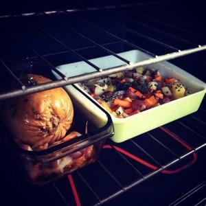 Root Veggies and Tofurkey in oven